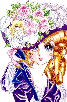 """Rose of Versailles"".Oscar Francois de Jarjayes and Queen Marie Antoinette. Original art work by Ms. Ikeda Riyoko."