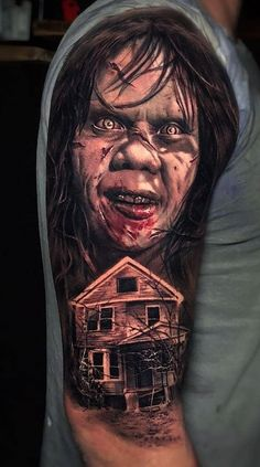 Evil Tattoos, Scary Tattoos, Cartoon Tattoos, Dope Tattoos, Great Tattoos, Skull Tattoos, Body Art Tattoos, Hand Tattoos, Girl Arm Tattoos