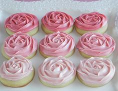 Melt in your mouth Sugar Cookies with Ombre Pink Rosette Buttercream Frosting