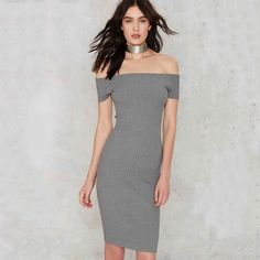 Asos Midi Bodycon Dress with Square Neck and Long Sleeves in Gray