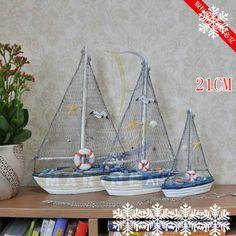 Barato Simples estilo veleiro mediterrâneo artesanato em madeira acessórios para pequena, Compro Qualidade Artesanato diretamente de fornecedores da China:              Tecnologia de Superfície: Pintadas  Embalagem: embalagem da caixa       Dimensões: Altu