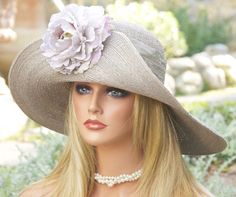Taupe Straw Kentucky Derby Hat Wide Brim Hat by AwardDesign, $110.00