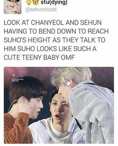 Chanyeol & Sehun are very tall compared to momma Suho