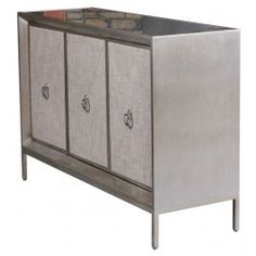New Pacific Direct Mancini Mirrored Sideboard Mirrored 3 Doors Cream Silver Mirror MDF Iron 1500005 | 1500005-NPD | New Pacific Direct