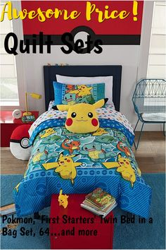 Pokmon, 'First Starters' Twin Bed in a Bag Set, 64' x 86', Multi Color ... (This is an affiliate link) #quiltsets