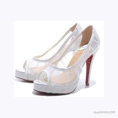 18d7230dcd60 Christian Louboutin ~ White Mesh Cloth Womens Sandals...great wedding shoes