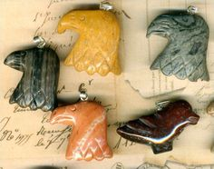 Southwest Carved Stone Eagle Pendants~10~Carved Stone~Red~Picture~Jasper~1 Bird