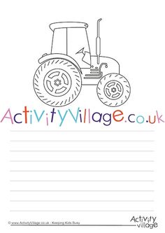 Tractor story paper for creative writing - and colouring in. Tractor Coloring Pages, Colouring Pages, Tractor Crafts, Tractors For Kids, Activity Village, Activities For Kids, Crafts For Kids, Busy Book, Business For Kids