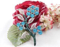 Vintage Blue and Clear Rhinestone Enamel Flowering Branch Brooch Pin