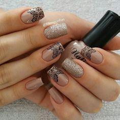 Echantillons clou différents (page - BeauteFemmes Perfect Nails, Gorgeous Nails, Pretty Nails, Mandala Nails, Lace Nails, Stylish Nails, Manicure And Pedicure, Nails Inspiration, Beauty Nails