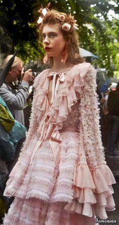 Rodarte Spring/Summer 2019 -Backstage Pink Fashion, Runway Fashion, Fashion Dresses, Fashion Looks, Modern Victorian Fashion, Editorial Shoot, Fashion Connection, Couture Details, Brunette Beauty
