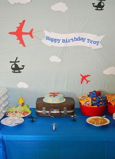 """Last year, crafty mama Kelcie shared a Cookie Monster party with us, and this year she's back again with a new theme! Kelcie says, """"this year I did an aircraft birthday party – and like last year, everything in the party was homemade. The paper . Planes Birthday, Planes Party, Airplane Party, 1st Boy Birthday, 4th Birthday Parties, Airplane Banner, Birthday Ideas, Monster Party, Cookie Monster"""