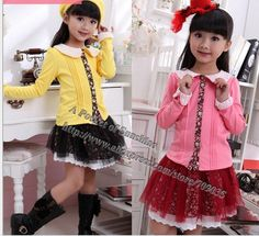 Pink Yellow 2013 new fashion kids clothing set autumn sets for girls girl 2 pcs suit lace bow coat with pants 5sets lots sale-in Clothing Se...