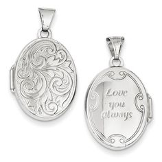 14k White Gold Polished Reversible Love You Always Oval Locket - 14k, Always, Gold, Locket, Love, Oval, Polished, Reversible, White, You