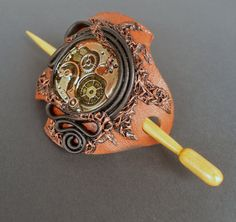 Leather Barrette Barrette with Stick Hair by SannaJewelry