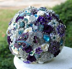Teal and Purple Wedding Brooch Bouquet. Deposit on a made to order Heirloom Bridal Broach Bouquet.
