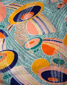 1930's cotton graphic print beach pajamas//homemade