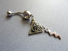 Belly Button Ring Lightning Bolt Deathly Hollows by AzeetaDesigns