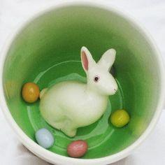 Easter Rabbit Surprise Mug by SpademanPottery on Etsy, $31.00