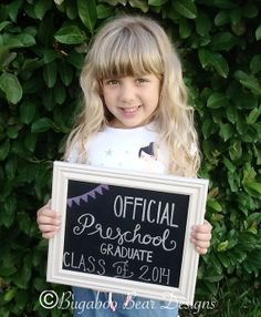 Official Preschool Graduate Chalkboard Sign, personalized, Any Grade, Class of graduation, last day of school- printed in large size for decorations Pre K Graduation, Kindergarten Graduation, Graduation Pictures, Last Day Of School, Pre School, High School, Preschool Kindergarten, Preschool Activities, School Readiness