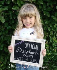 Official Preschool Graduate Chalkboard Sign, personalized, Any Grade, Class of 2014, graduation, last day of school