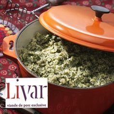Boerenkoolstamppot met Livar spek: Stamppot van aardappelen, boerenkool en op houtkrullen gerookt Livar spek.