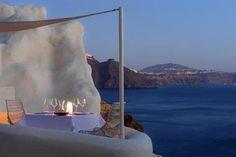 Dreamy cave pool in Santorini, Greece.