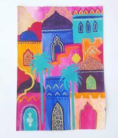 Passion Color Joy 30 days of painting challenge - Morocco theme Abstract Marrakech cityscape 1001 nights, arabian nights by Carolin Bentbib Marrakech, Decoraciones Ramadan, Aladdin Art, Motif Oriental, Arabian Art, Moroccan Art, Art Mural, Art Art, Guache