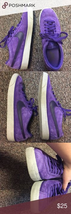 Purple Suede Nike Sneakers! Purple Nike sneakers, mens 8.5, womens 9.5/10. Soft material In GREAT condition with only a few tiny scuffs. Look basically new. Suede material. Nike Shoes Sneakers