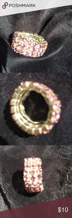 Swarovski Crystal ring This Swarovski Crystal stretch ring is a triple layer of pink and white crystals... Jewelry Rings