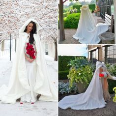 2017 Bridal Winter Wedding Cloak Cape Hooded with Fur Trim Long Bridal Winter | Clothing, Shoes & Accessories, Costumes, Reenactment, Theater, Accessories | eBay!