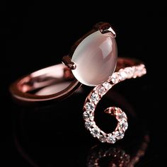 Chic Natural Moonstone Rose Gold Plated Silver Women Ring