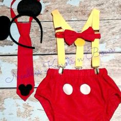 Boys mickey mouse cakesmash set, first birthday outfit, 1st, 2nd birthday cakesmash set