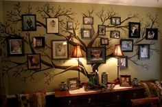 Family tree gallery wall - for dining room? Find pictures up to our great-grandparents. Draw Celtic tree so grandparents can be the roots?