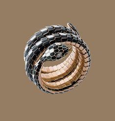 Black and white enamel and gold snake bracelet by Bulgari, circa  1965.