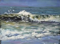 Daily Oil Painting, Rushing To Shore , 6x8, painting by artist Carol Schiff