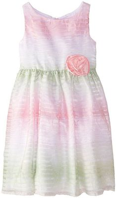 SWEET HEART ROSE Girls 2T Pink Green Organza Ribbon Easter Party Occasion Dress