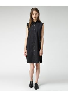 T by Alexander Wang / Sleeveless Poplin Shirtdress | La Garçonne. Sleeveless Poplin Shirtdress by T by Alexander Wang.  Crisp, sleeveless shirtdress with classic details in a lightweight cotton poplin. Worn with / Damir Doma Freya Slippers.