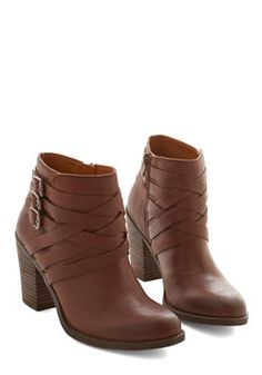 Pleasant Sentiment Bootie. When these versatile yet distinct ankle boots by Lucky put you in a good mood, you cant help but share your positive attitude with those around. #brown #modcloth