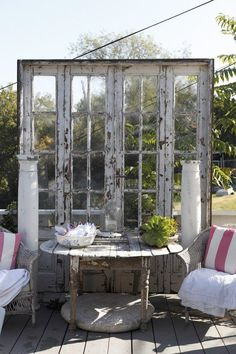 Dishfunctional Designs: New Takes On Old Doors: Salvaged Doors Repurposed Old French Doors, Old Doors, Old Windows, Windows And Doors, Recycled Windows, Recycled Wood, Recycled Glass, French Windows, Garden Cottage