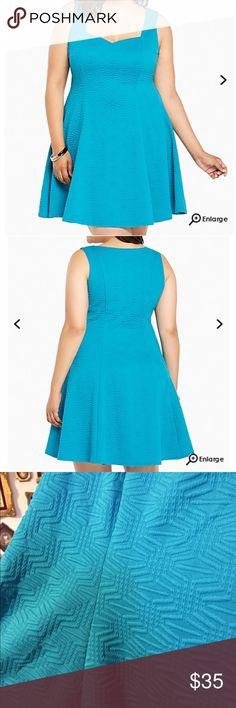 NWT torrid size 4 textured fluted skater dress. NWT torrid size 4 textured fluted skater dress.  Caution: major curves ahead! This dress was made to love you with a va-va voom textured turquoise knit that's boosted by figure-flattering fluted seams. A sweetheart neckline is almost NSFW. torrid Dresses