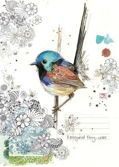 Fairy-wren by Jane Crowther for Bug Art greeting cards. Art And Illustration, Illustrations, Art Carte, Bug Art, Motifs Animal, Collage Artwork, Bird Drawings, Whimsical Art, Fabric Art