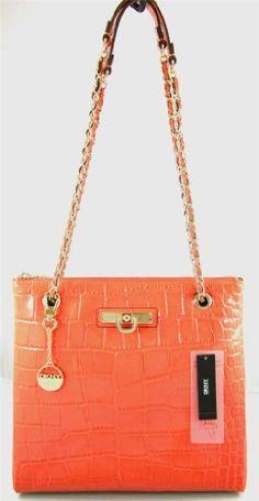 sale DKNY Orange Patent Leather Convertible Purse Bag Satchel Tote Coach  Wallet a91f99476b587