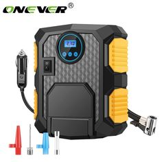 Portable Air Compressor Pump - Digital Tire Inflator - Auto Tire Pump with Emergency Led Lighting and Long Cable for Car - Bicycle - Motorcycle - Basketball and other Tire Air Compressor, Portable Air Compressor, Hose Storage, Cable Storage, Atv Car, Mid Size Car, Flat Tire, Automobile Industry, Electric Car