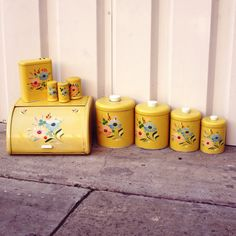 Items similar to RESERVED for - Handpainted Yellow Floral Ransburg Kitchen Canister Set on Etsy Vintage Canister Sets, Kitchen Canister Sets, Vintage Kitchenware, Vintage Kitchen Decor, Vintage Tins, Vintage Dishes, Retro Vintage, 1950s Kitchen, Retro Kitchens