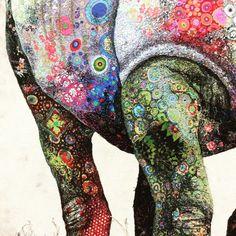 White rhino detail. Textile art