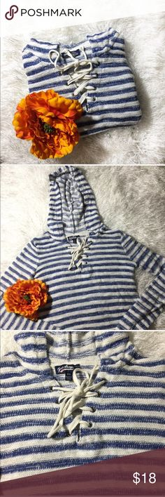 {Freshman} Blue and White Striped Hooded Pullover Pretty blue and white striped knit hooded pullover in good used condition! Size XS! With lace up vneck Freshman Tops Sweatshirts & Hoodies