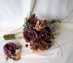 Pretty rustic boquet...without the twirly things and more of a wine purple. What do you think?