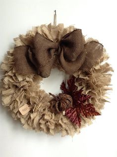 Burlap Fall Wreath 24 LARGE Autumn Wreath by JBJunkMarket on Etsy, $68.00