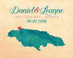 Jamaica, Montego Bay Map, Jamaica Wedding Gift, Honeymoon, Wedding Guestbook, Destination, Jamaican, Negril, Tropical Engagement Gift